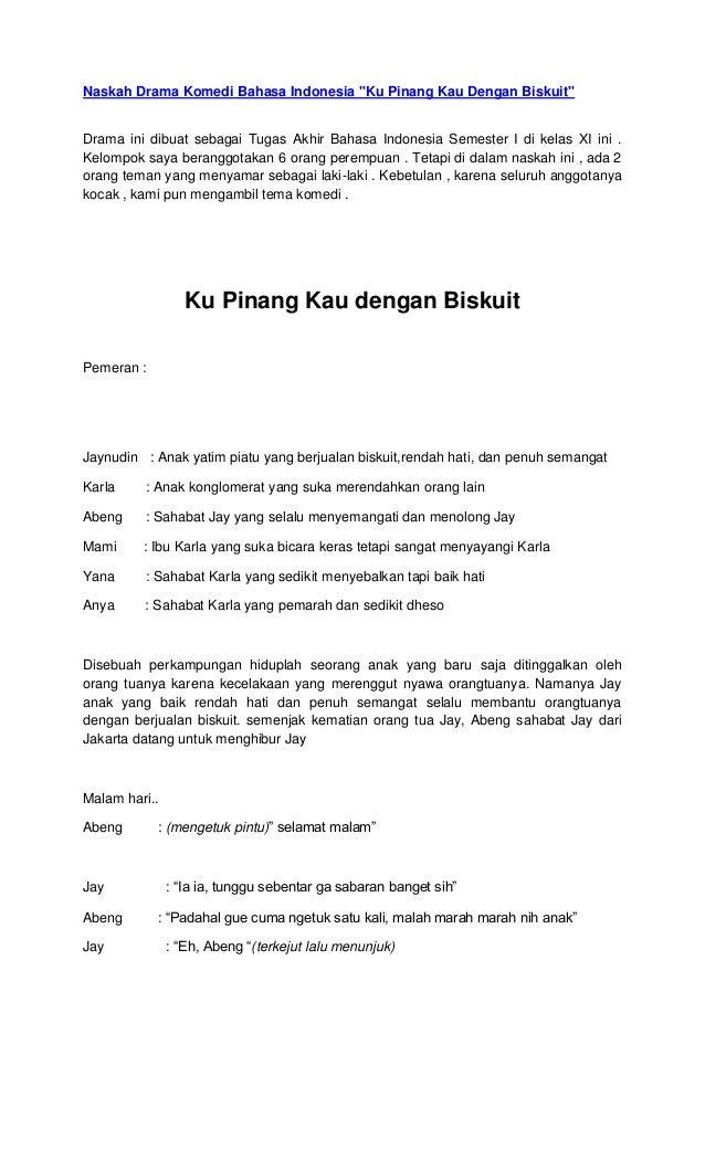 Naskah Drama Pendek Cerita Rakyat 6 Orang Dalam Bahasa Inggris
