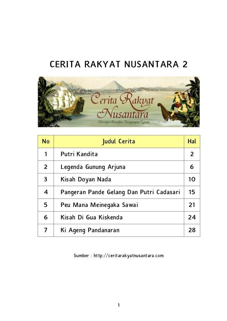 CERITA RAKYAT NUSANTARA 2No                     Judul Cerita                   Hal1     Putri Kandita                     ...