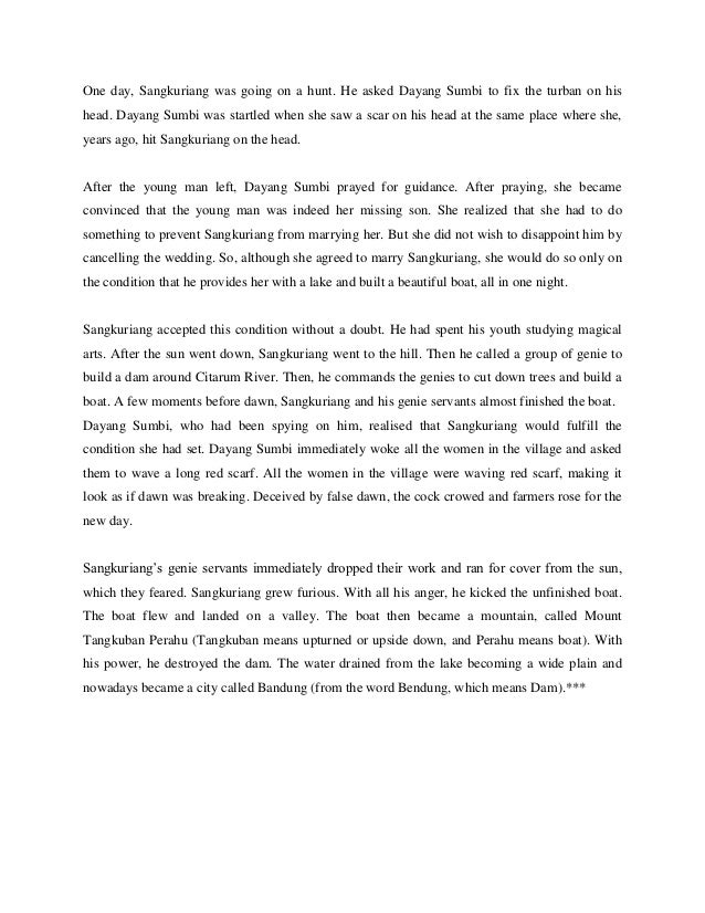 Cerita Rakyat Sangkuriang In English