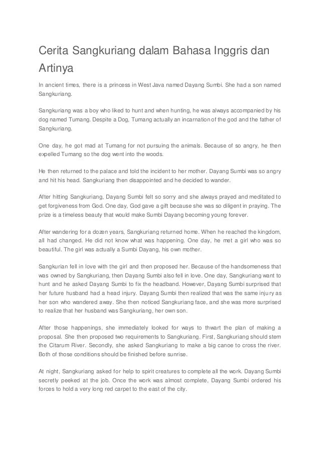 Paragraf Pertama Cerita Sangkuriang