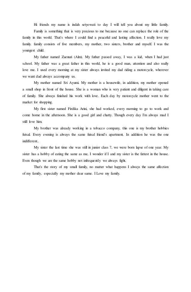 Cerita Tentang Kelurga Bahasa Inggris