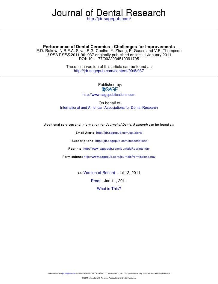 Journal of Dental Research                   http://jdr.sagepub.com/   Performance of Dental Ceramics : Challenges for Imp...