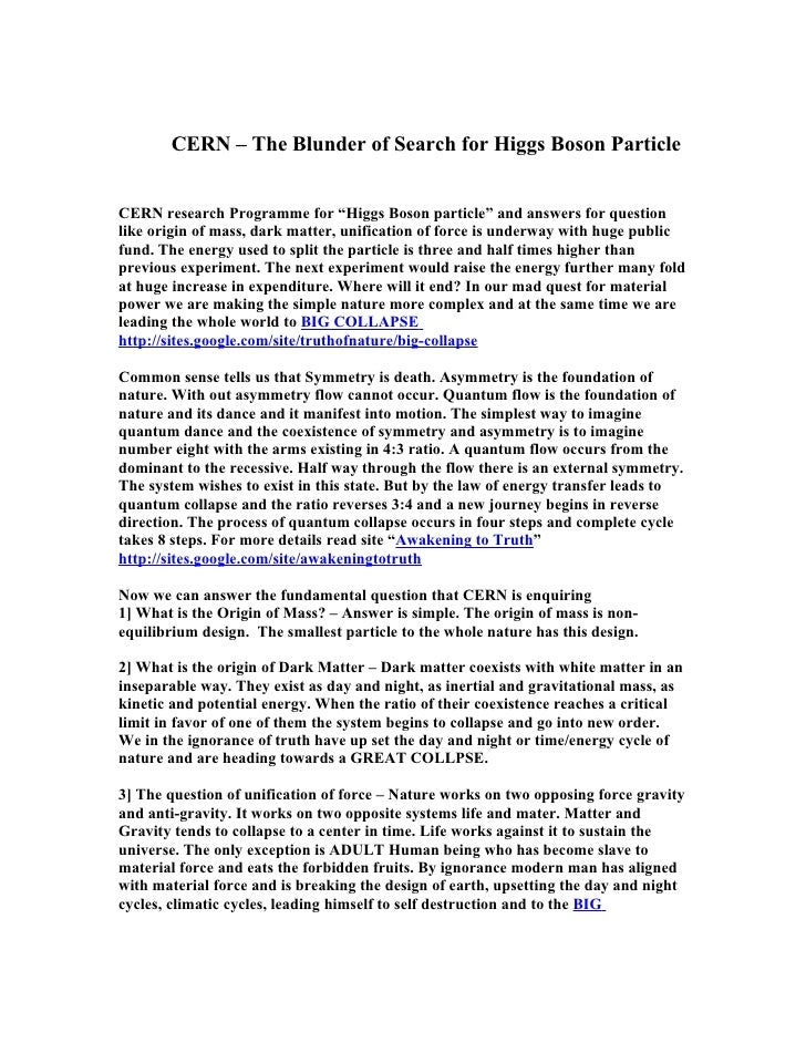 """CERN – The Blunder of Search for Higgs Boson Particle   CERN research Programme for """"Higgs Boson particle"""" and answers for..."""
