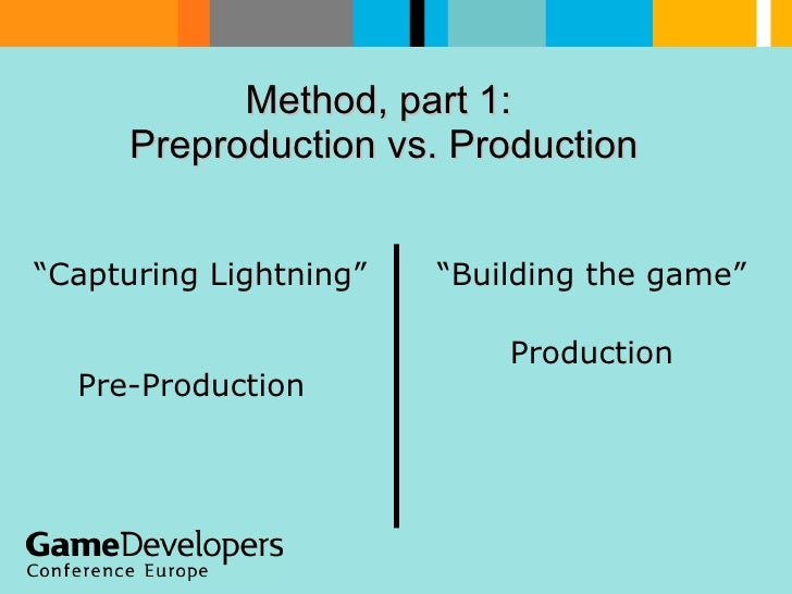 """Method, part 1:  Preproduction vs. Production   """" Capturing Lightning""""  Pre-Production """" Building the game"""" Production"""