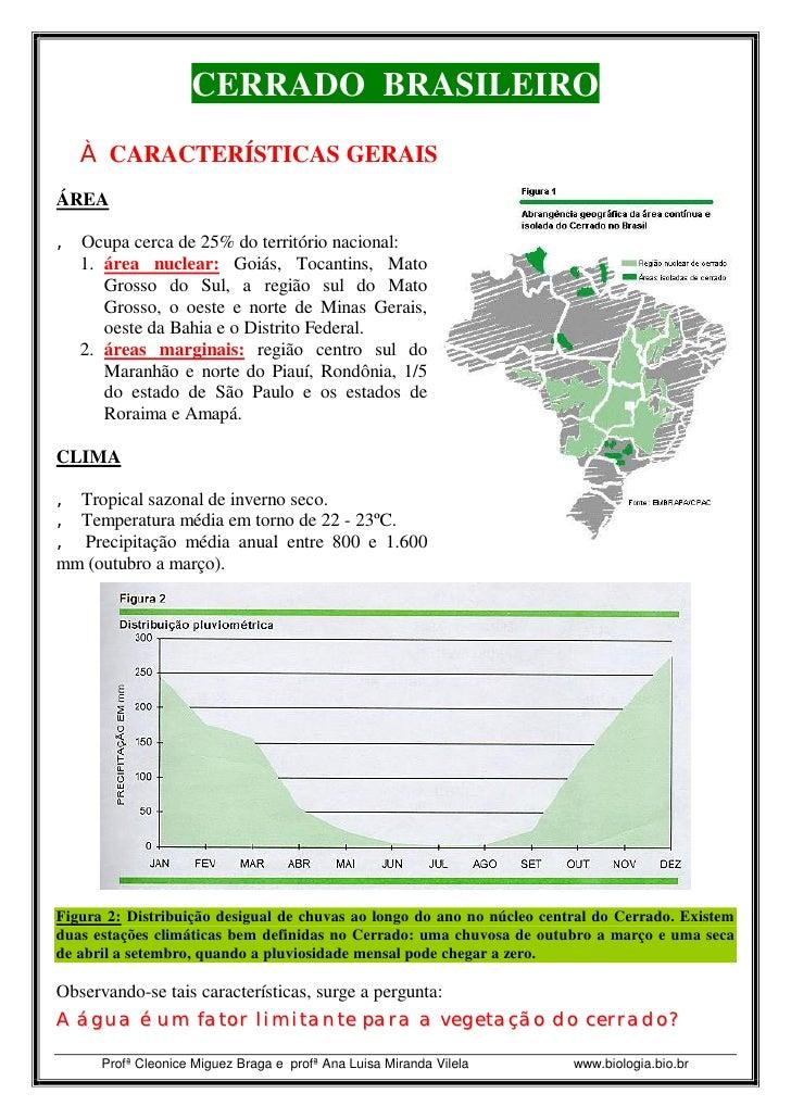 CERRADO BRASILEIRO    Ë CARACTERÍSTICAS GERAIS ÁREA  â Ocupa cerca de 25% do território nacional:   1. área nuclear: Goiás...