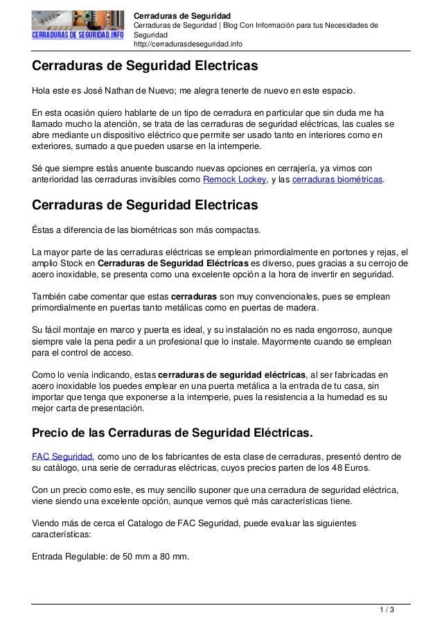Cerraduras de seguridad electricas - Cerraduras de seguridad ...