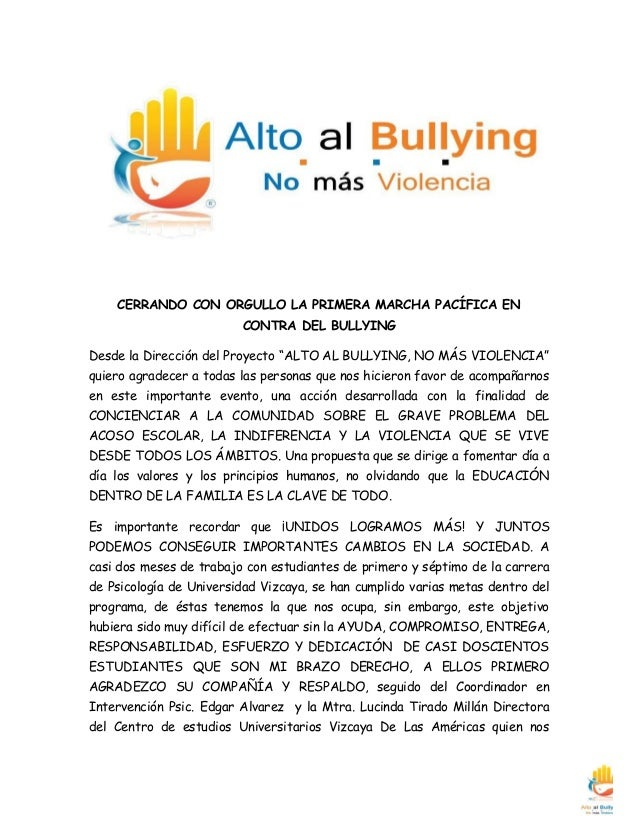 """CERRANDO CON ORGULLO LA PRIMERA MARCHA PACÍFICA EN CONTRA DEL BULLYING  Desde la Dirección del Proyecto """"ALTO AL BULLYING,..."""