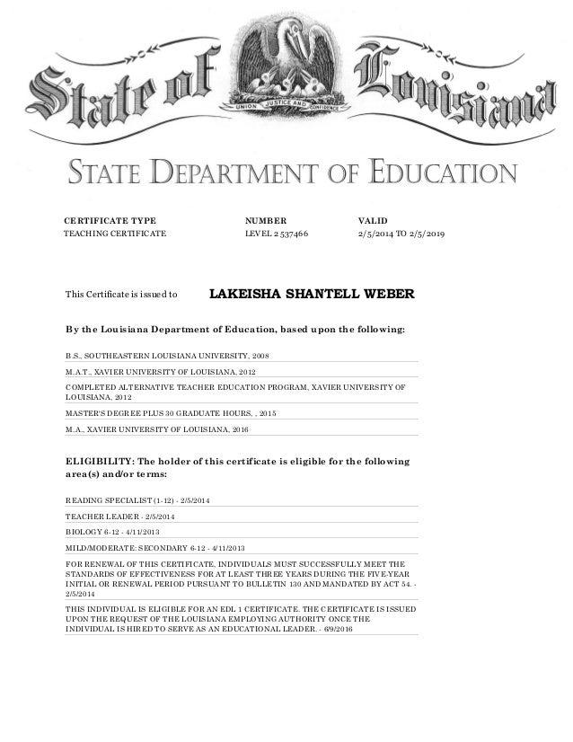 louisiana education department certificate teaching valid