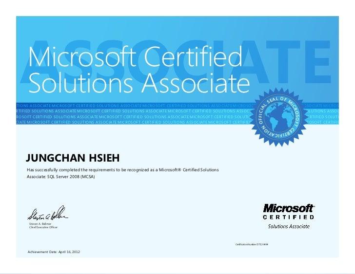 ASSOCIATE            Microsoft Certified            Solutions AssociateFIED SOLUTIONS ASSOCIATEMICROSOFT CERTIFIED SOLUTI...