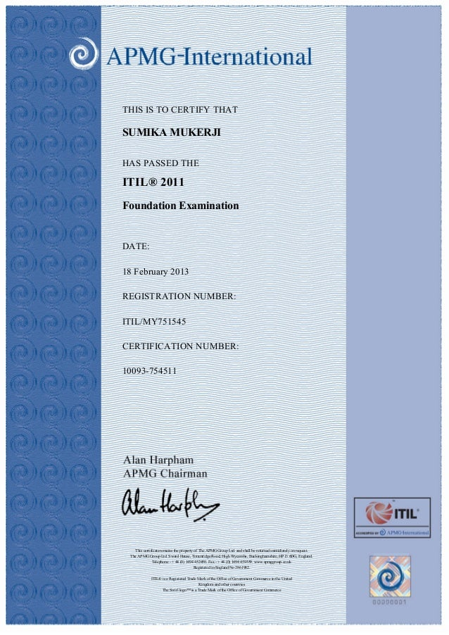 ITIL Foundation Certificate