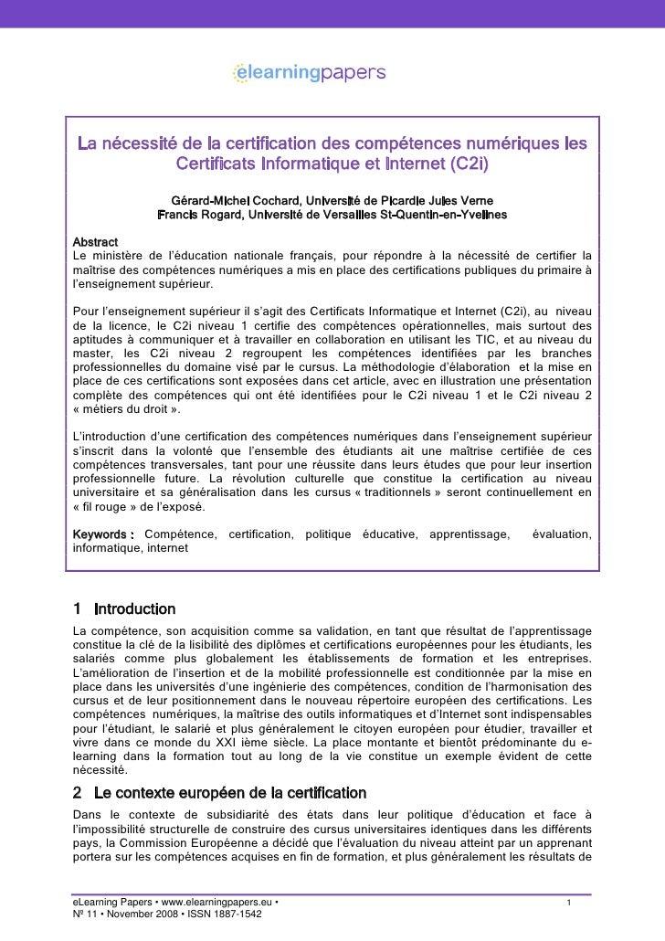 La nécessité de la certification des compétences numériques les             Certificats Informatique et Internet (C2i)    ...