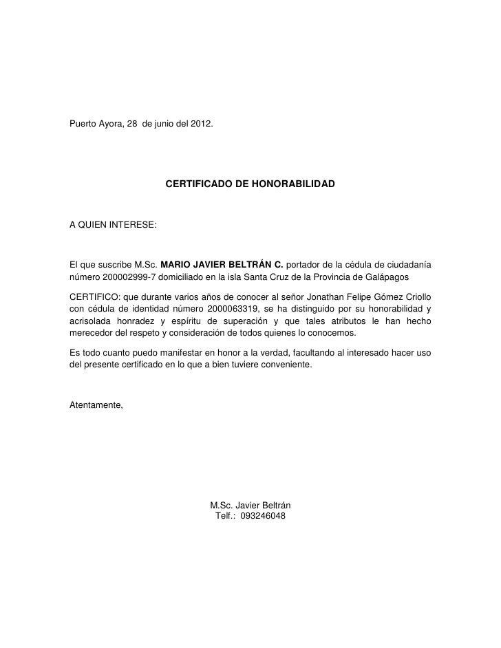 certficado de honorabilidad