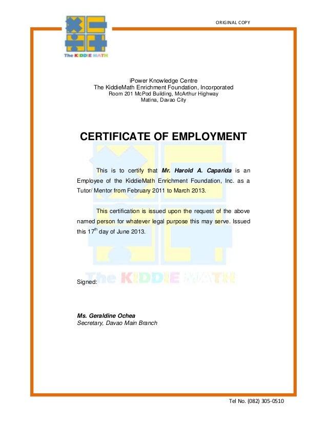 Certficate Of Employmentkm