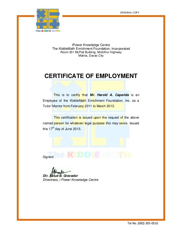 Certification of employment sample insrenterprises certification of employment sample yadclub Choice Image