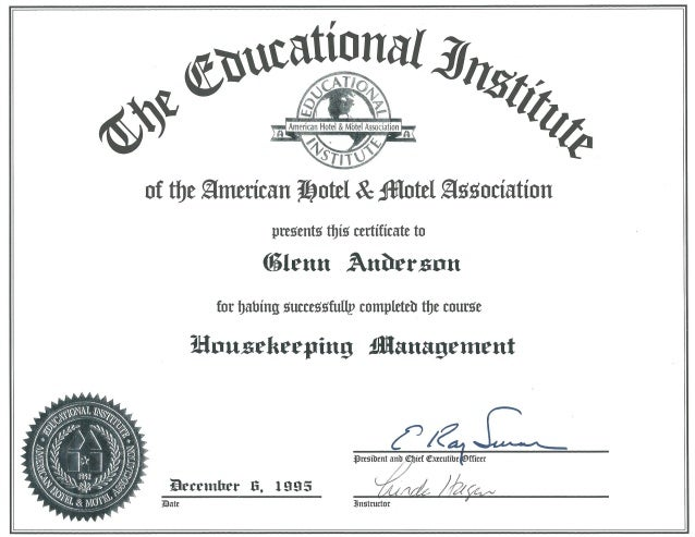 of the gmerican iiautel & jtlilutel Qssneiatiun  presents this certificate to (Elena Anhersnn  fur hahing successfully cum...