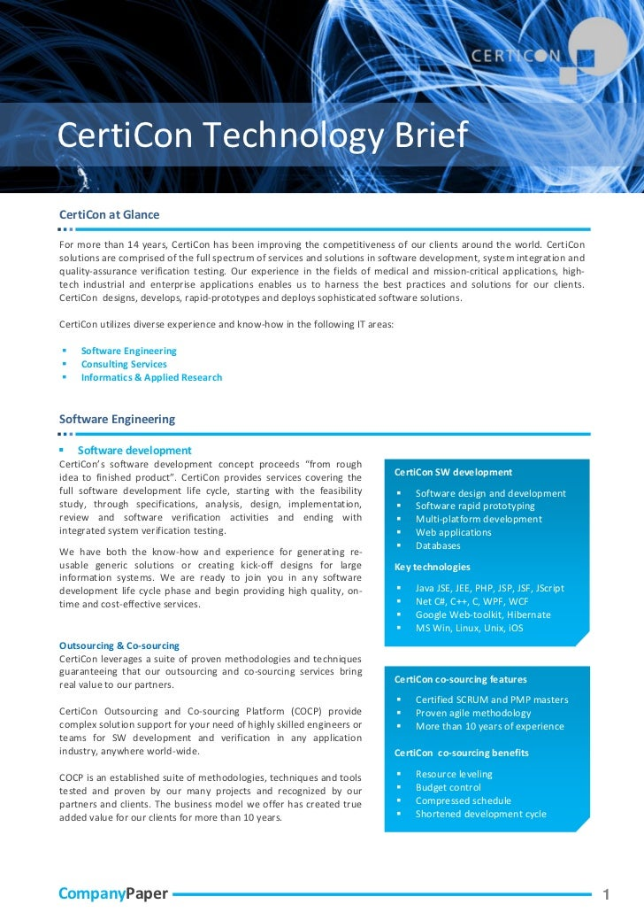 CertiCon Technology BriefCertiCon at GlanceFor more than 14 years, CertiCon has been improving the competitiveness of our ...