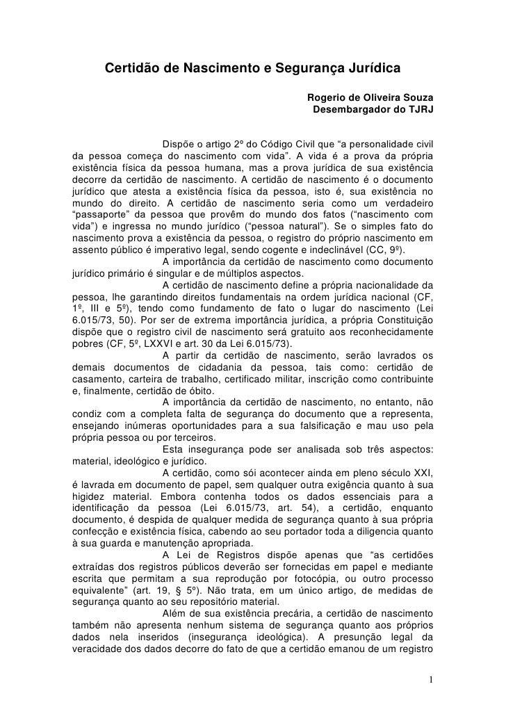 Certidão de Nascimento e Segurança Jurídica                                                     Rogerio de Oliveira Souza ...