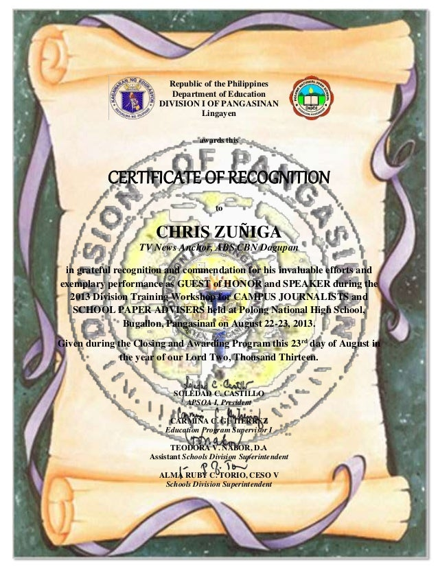 Certifcate of recognition to guest of honor and speaker to print republic of the philippines department of education division i of pangasinan lingayen awards this certificate of certifcate of recognition to guest yadclub