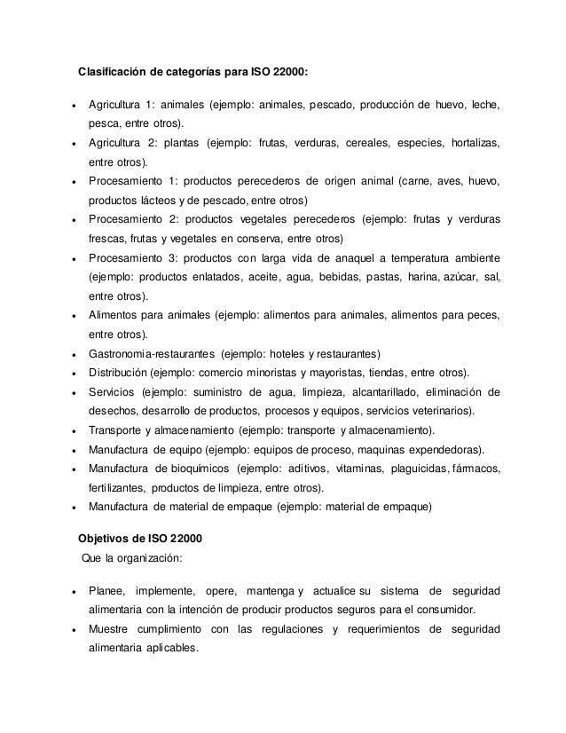 Clasificación de categorías para ISO 22000:  Agricultura 1: animales (ejemplo: animales, pescado, producción de huevo, le...