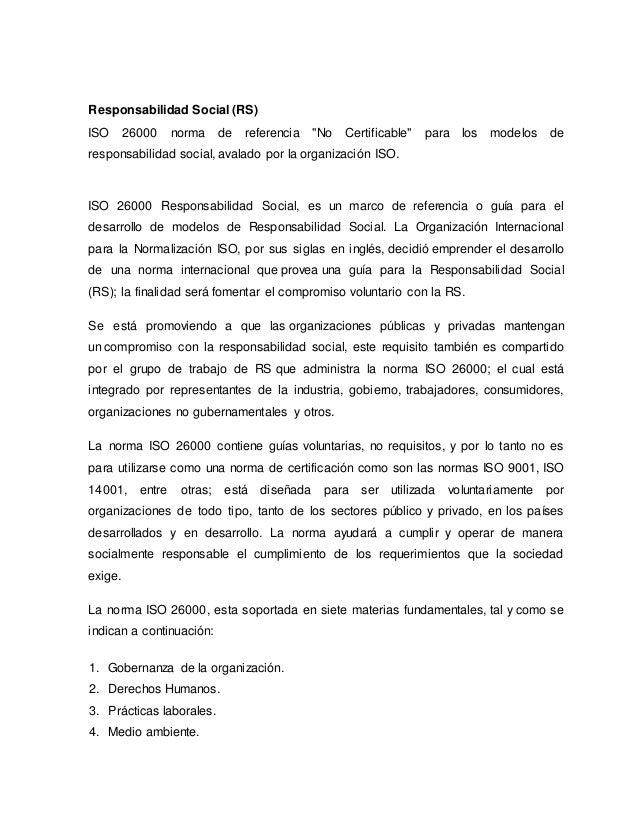 """Responsabilidad Social (RS) ISO 26000 norma de referencia """"No Certificable"""" para los modelos de responsabilidad social, av..."""