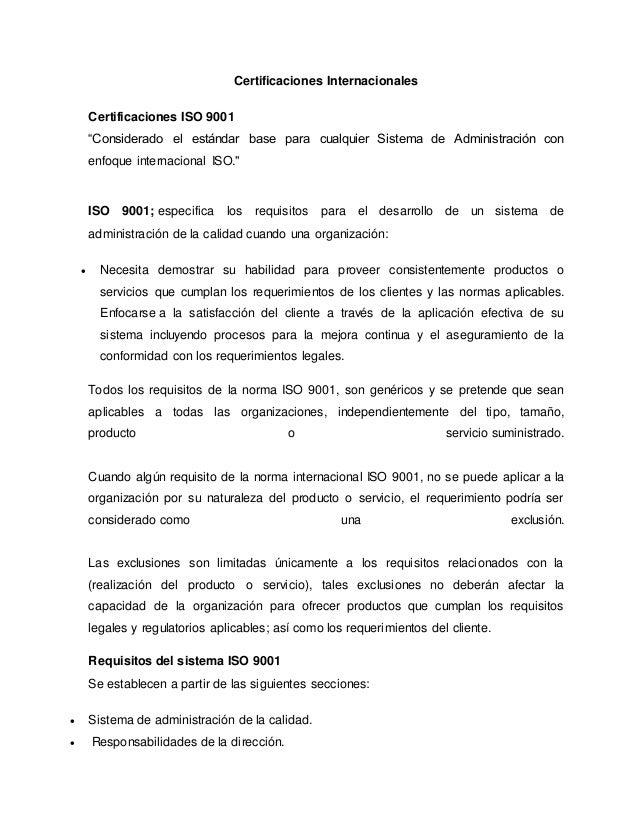 """Certificaciones Internacionales Certificaciones ISO 9001 """"Considerado el estándar base para cualquier Sistema de Administr..."""