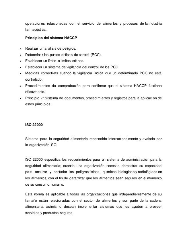 operaciones relacionadas con el servicio de alimentos y procesos de la industria farmacéutica. Principios del sistema HACC...
