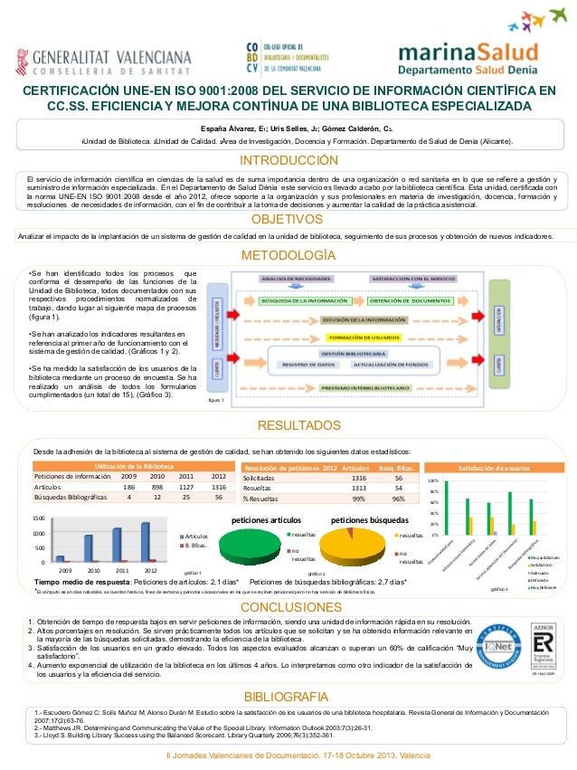 CERTIFICACIÓN UNE-EN ISO 9001:2008 DEL SERVICIO DE INFORMACIÓN CIENTÍFICA EN CC.SS. EFICIENCIA Y MEJORA CONTÍNUA DE UNA BI...