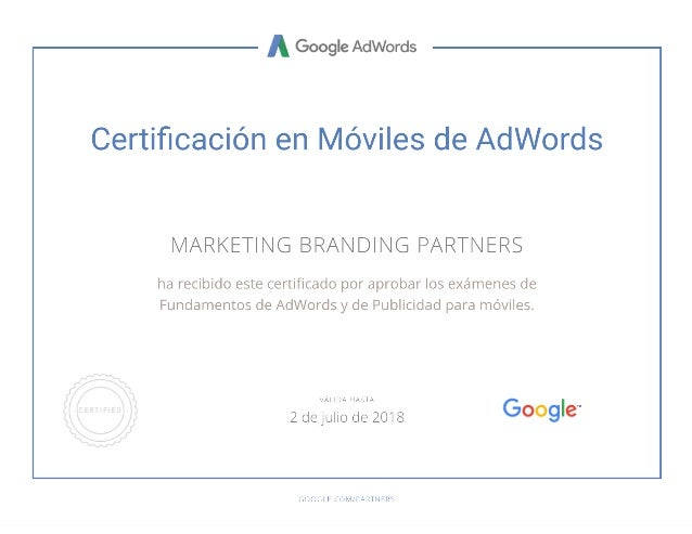 Marketing Branding Certificacion en Moviles de Google Ads
