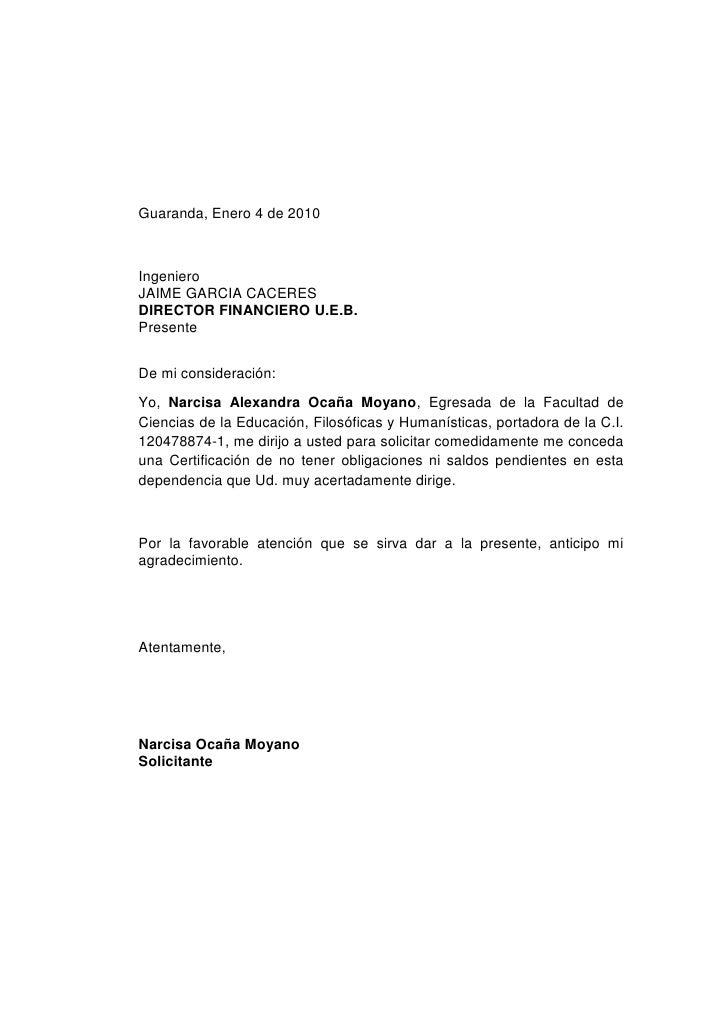 Guaranda, Enero 4 de 2010<br />Ingeniero <br />JAIME GARCIA CACERES<br />DIRECTOR FINANCIERO U.E.B.<br />Presente<br /> <b...