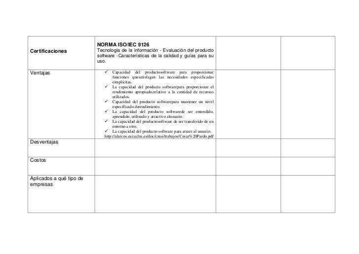 NORMA ISO/IEC 9126Certificaciones           Tecnología de la información - Evaluación del producto                        ...
