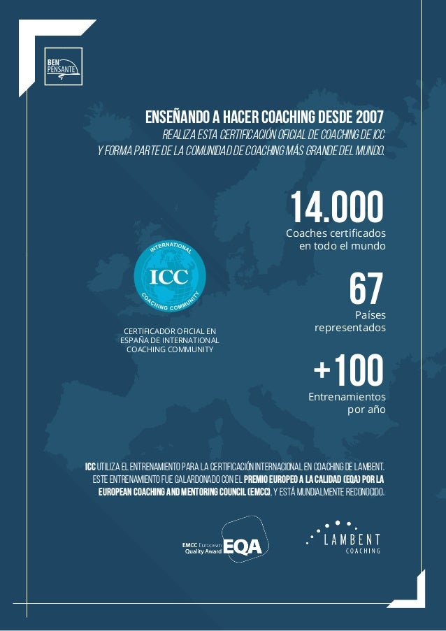 ICC UTILIZA EL ENTRENAMIENTO PARA LA CERTIFICACIÓN INTERNACIONAL EN COACHING DE LAMBENT. ESTE ENTRENAMIENTO FUE GALARDONAD...