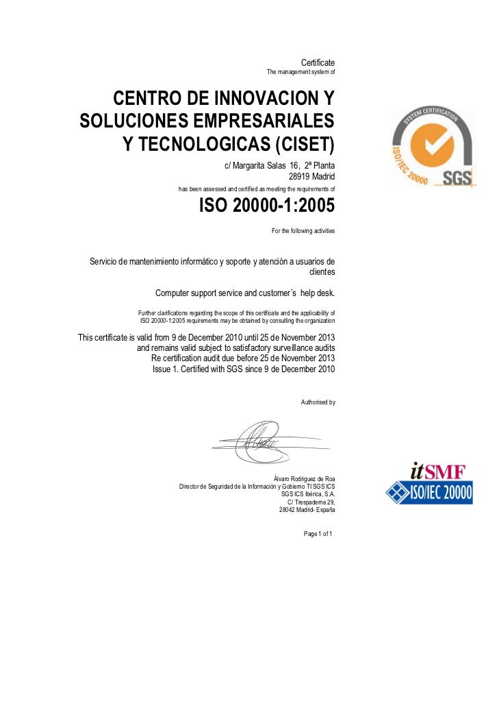 Certificate                                                                          The management system of   CENTRO DE ...
