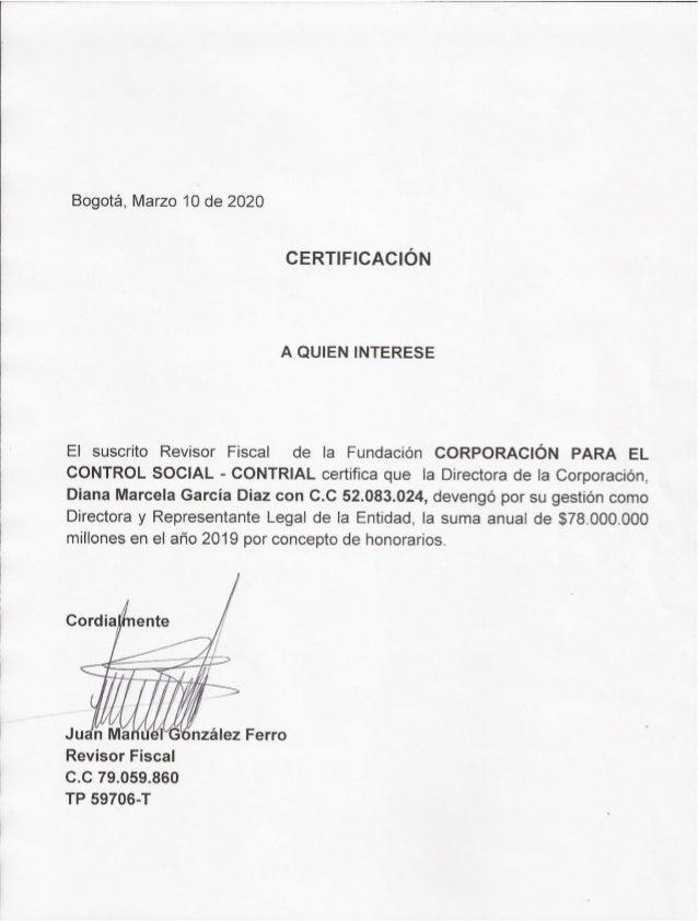 Certificación remuneración directora