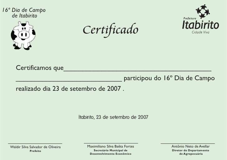 Certificado Dia de Campo