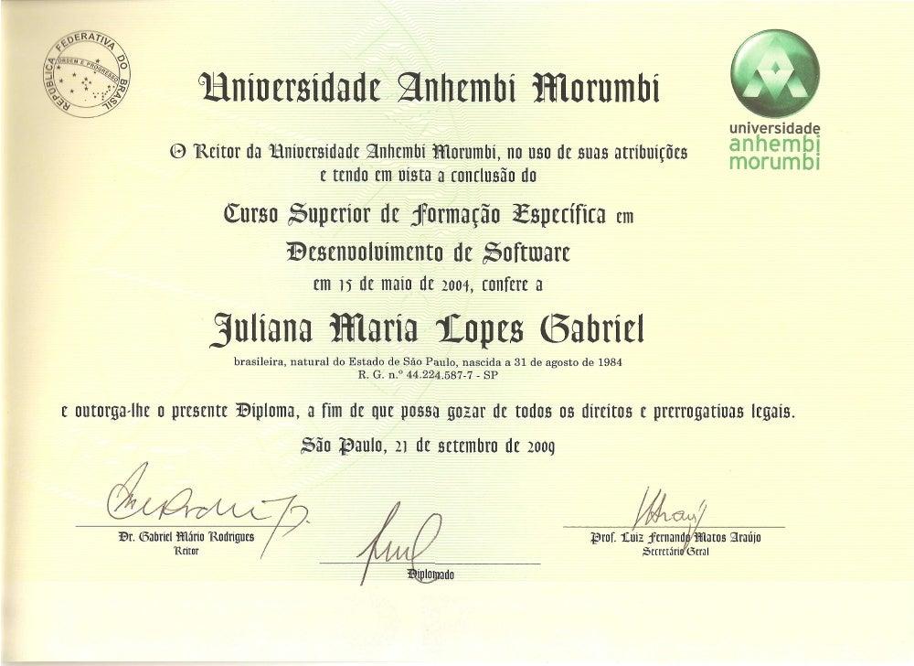Certificado Graduação Anhembi Morumbi - Juliana Maria Lopes