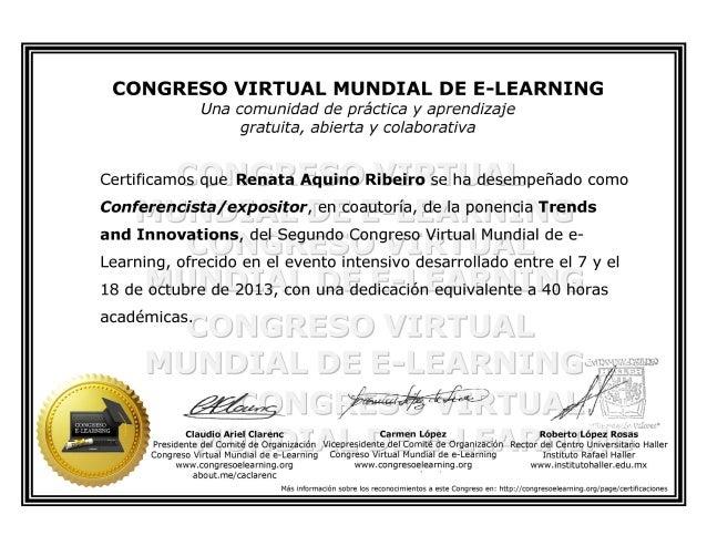 Certificado autor congreso virtual mundial de e learning 2013