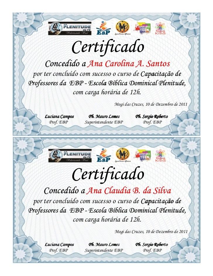 Certificado     Concedido a Ana Carolina A. Santos por ter concluído com sucesso o curso de Capacitação deProfessores da E...