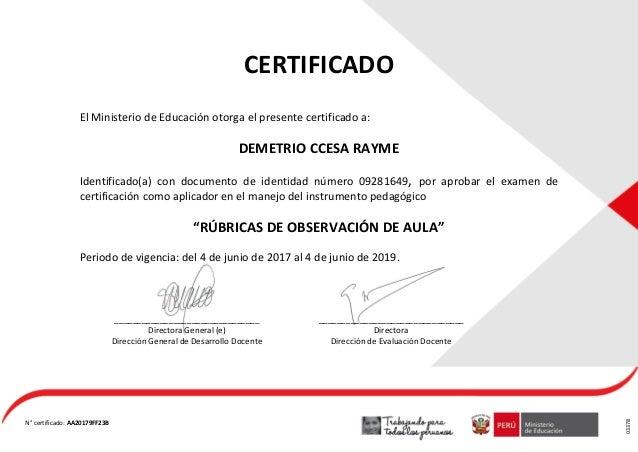 certificado de las rubricas de observaci u00f3n de aula