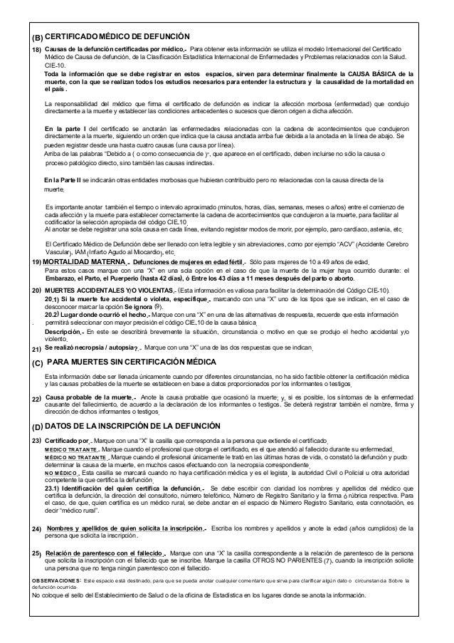 Certificado de defunción - Ecuador