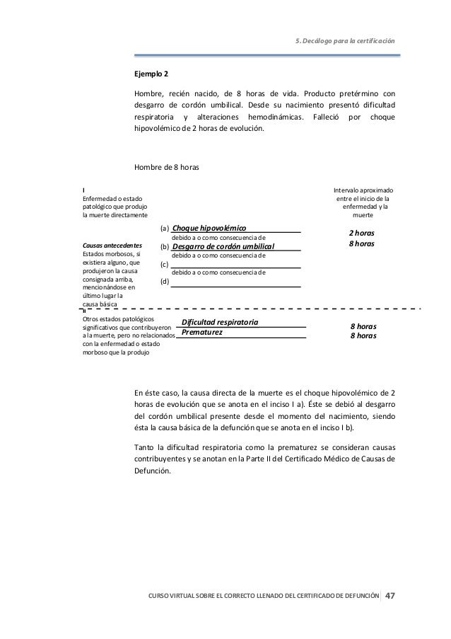 Certificado de defunciòn correcto llenado