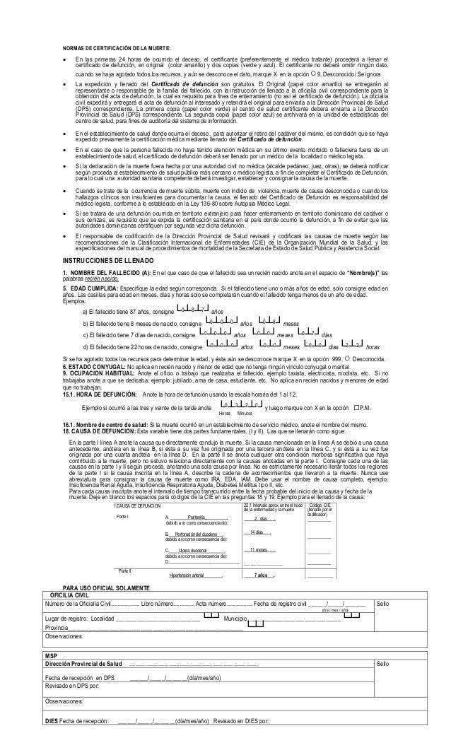 Certificado de defuncion de la República Dominicana