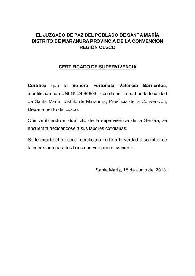 EL JUZGADO DE PAZ DEL POBLADO DE SANTA MARÍADISTRITO DE MARANURA PROVINCIA DE LA CONVENCIÓNREGIÓN CUSCOCERTIFICADO DE SUPE...