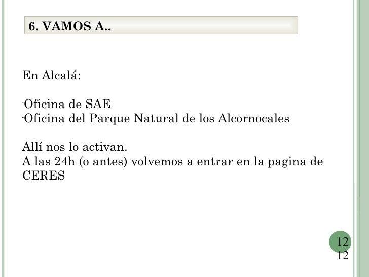 6. VAMOS A..En Alcalá:-  Oficina de SAE-  Oficina del Parque Natural de los AlcornocalesAllí nos lo activan.A las 24h (o a...