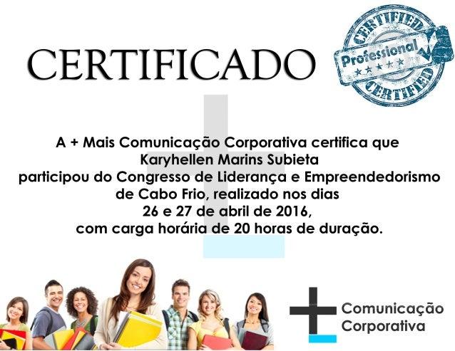 Certificado do Congresso de Empreendedorismo e Liderança de Cabo Frio