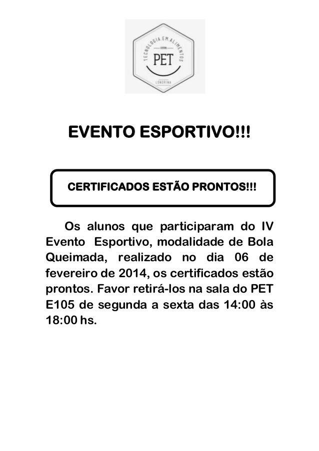 Certificado Evento Esportivo