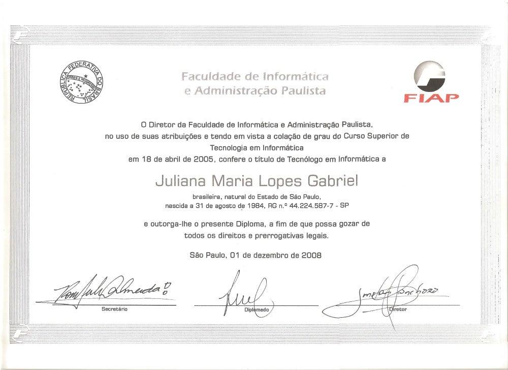 Certificado Graduação Fiap - Juliana Maria Lopes