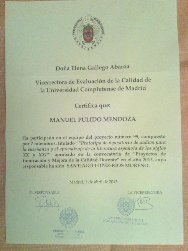 Certificado grupo de investigación UCM audio y literatura