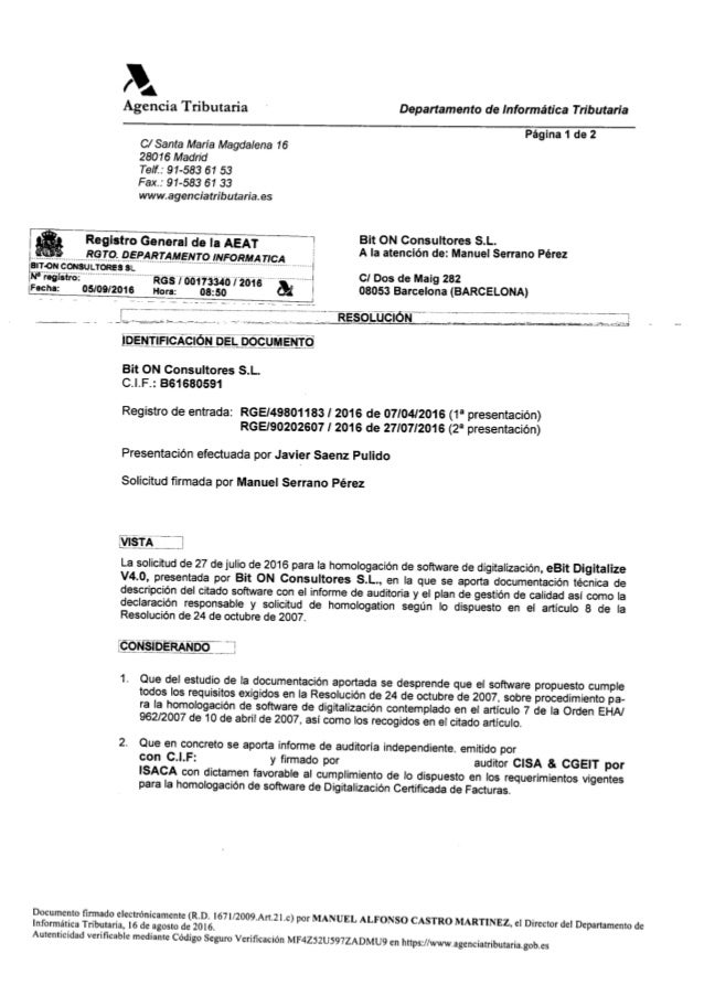 eBit Digitalize v4.0: Certificado homologacion AEAT