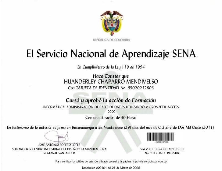 El Servicio Nacional de Aprendizaje SENA                                               En Cumplimiento de la Ley 119 de 19...