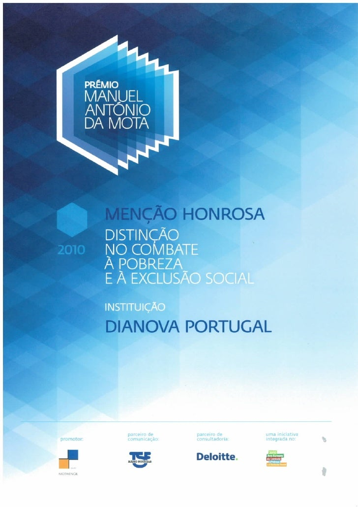 Certificado Mencao Honrosa Premio Antonio Manuel da Mota Dianova 2010